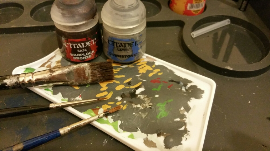 What's on the painting table?